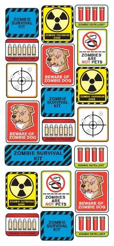 Stick it. Shout it. Share it. These Stick of Zombie Survival Labels from Sticko are funky, fun and a great way to personalize your stuff - notebooks, lockers, photos or anywhere you want to make a statement. These stickers are perfect for expressing yourself, your way featuring images and phrases to get you through the zombie apocalypse. Includes 20 stickers. Sticker sheet 5.75-Inch-by-14.25-Inch.