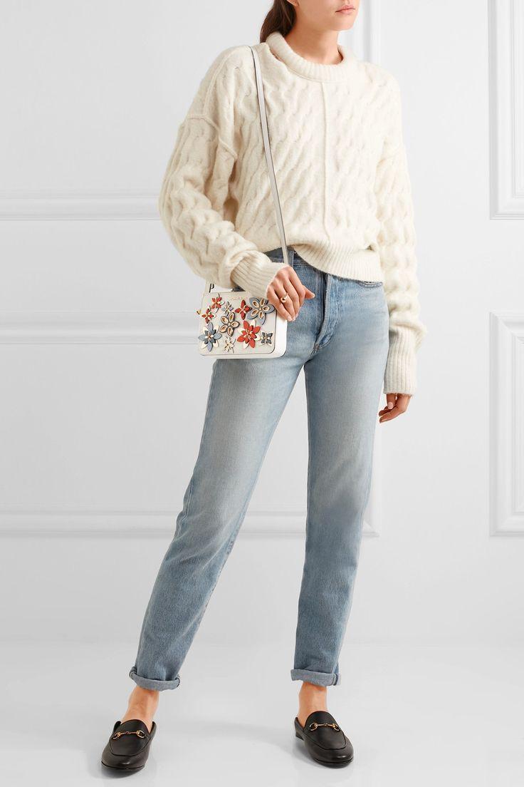 MICHAEL Michael Kors   Flowers appliquéd textured-leather shoulder bag   NET-A-PORTER.COM