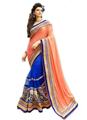 Orange & Blue Color Net & Georgette Saree. By Saryu Sarees on Shimply.com