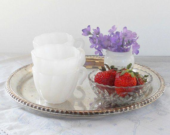 Hazel Atlas White Milk Glass Punch Bowl Cups by RosebudsOriginals