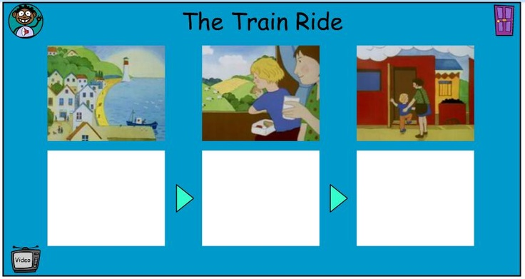 After watching the animated version of The Train Ride, have children order the main events of the story in this storyboard activity by clicking on the text to put it in the correct sequence. You may also choose to have children work with a partner to retell the story.