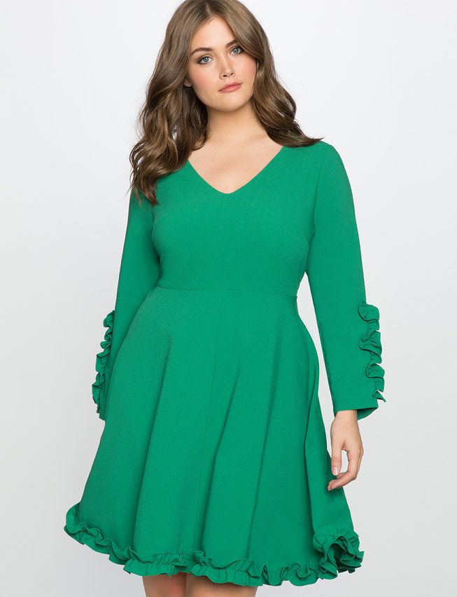 Ruffle Trim Crepe Dress | Women's Plus Size Dresses | ELOQUII