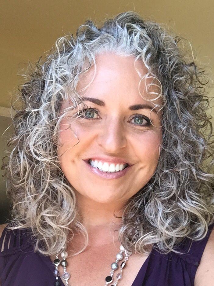 Gray curly hair and a natural   Grey curly hair, Long ...