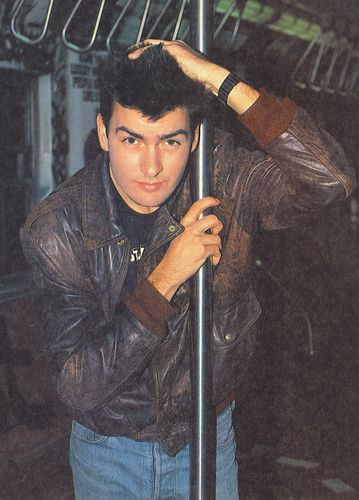 Charlie Sheen --when he was young and in a NYC subway. Adam would wear jeans and a jacket like this!