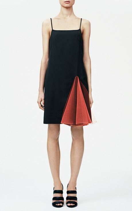 Black Strappy Dress With Neon Orange Godets by Christopher Kane for Preorder on Moda Operandi