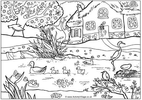 Colour in this lovely spring farmyard pond scene with ...