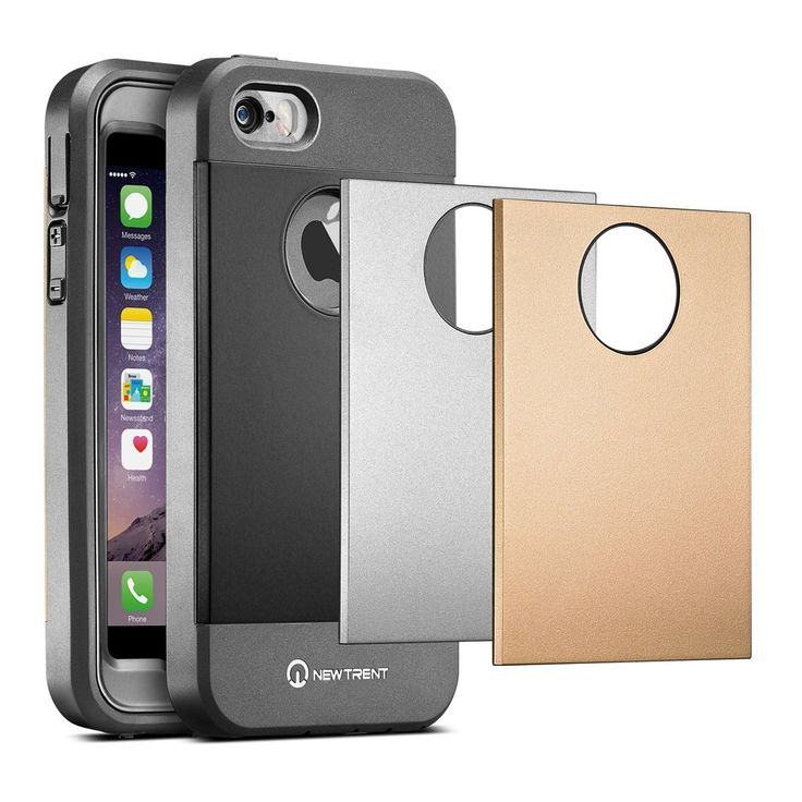 iPhone SE Case, iPhone 5s Case, New Trent Trentium Rugged Protective Durable iPhone 5 Case for the Apple iPhone 5s/5/SE w/ Screen Protector 3 Back Plates - Black Silver Gold. The New Trent Trentium Rugged case provides solid all around 360 comprehensive durable total protection for your Apple iPhone 5 / iPhone 5s / iPhone SE. Precise cut and design allows for full access to all ports and features. SPECIAL NOTE: Our current Trentium case fits the iPhone SE 2016, and the latest wave of...
