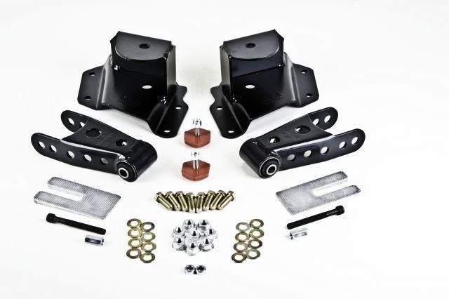 Belltech Shackle Kit 2011-2013 GMC Sierra Chevrolet Silverado 2500HD/ 2015 Ford F150 - 1inch Drop (RWD)
