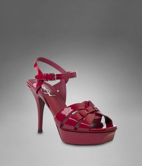 YSL TRIBUTE LOW HEEL SANDAL IN RED PATENT LEATHER | Shoes ...