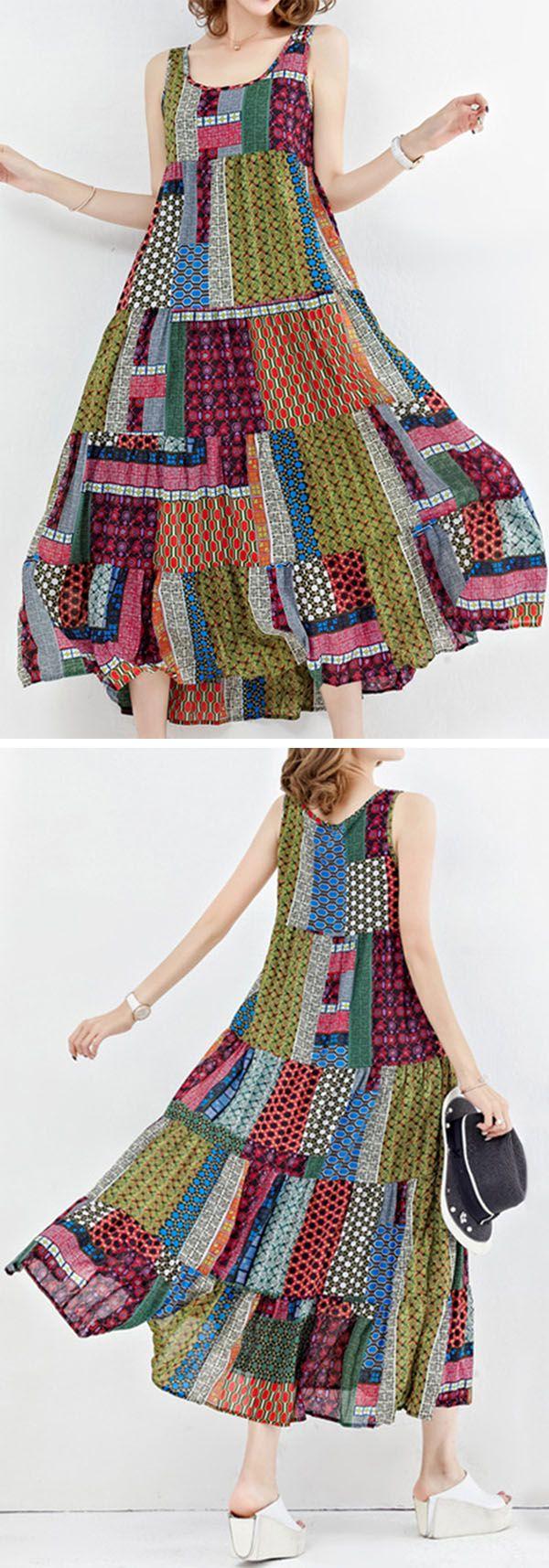 US$25.20 Gracila Bohemian Patchwork Sleeveless O-Neck Long Maxi Dresses Gracila Print Patchwork Short Sleeve O Neck Women Dresses