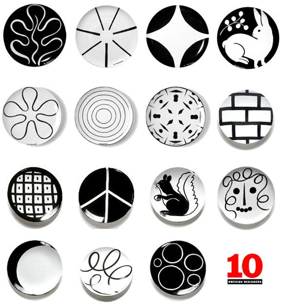 Plates with patterns from Swedish 10-Gruppen/Ten Swedish Designers