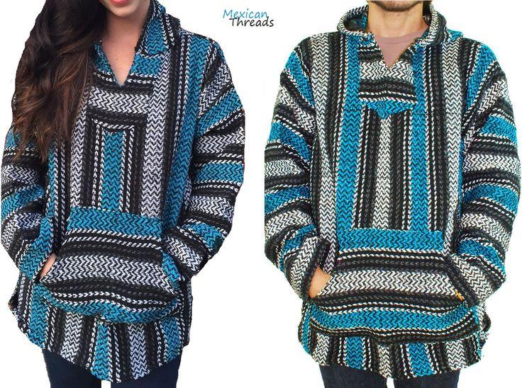 mexican baja jacket drug rug hoodie turquiose men women