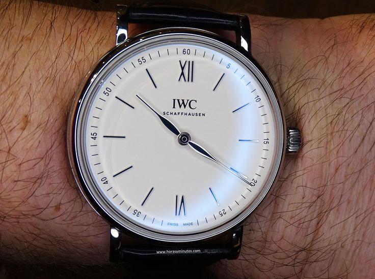 #IWC Portofino Hand-Wound Pure Classic acero en la muñeca