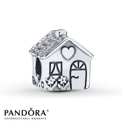 This sterling silver charm from the PANDORA Spring 2014 collection features a cute little cottage depicted with a heart above the door. Style # 791267.