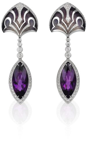 18 ct yellow gold, amethyst over 8 ct, brilliant-cut diamonds, hand enamelled and engraved in multiple colours