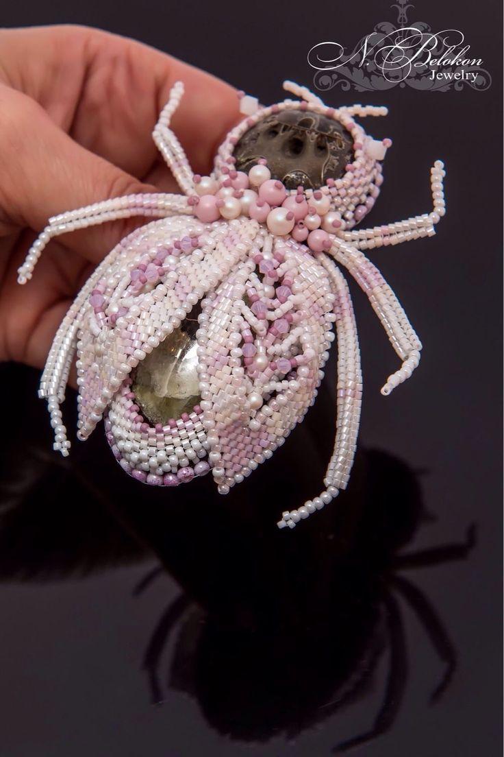 Купить Гигантский жук нежного цвета. Брошь - белый, розовый, брошь, Вышивка бисером, Бисероплетение