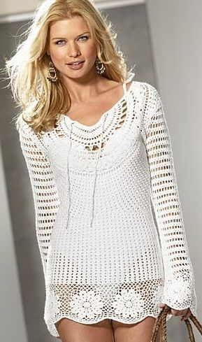Вязание крючком - туника long sleeve shirt with half circle pattern at neck and granny square pattern hem