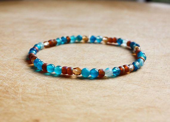 Aqua blauw & Dark Topaz Bracelet - Armband Boho - Boheemse sieraden