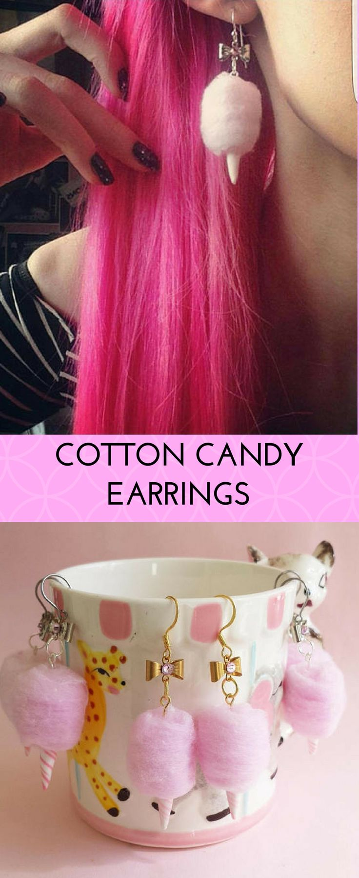 adorable cotton candy earrings! #cottoncandy #candyfloss #pink #retro #rockabilly #psychobilly #1950s #candy #jewelry #afflink