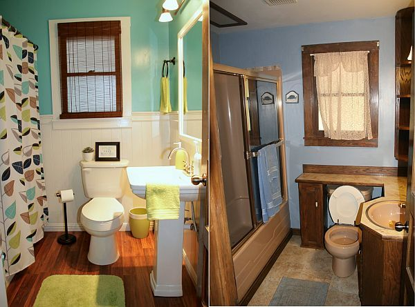 Before And After Small Bathroom Makeovers Big On Style Toilets Surfers And Colors