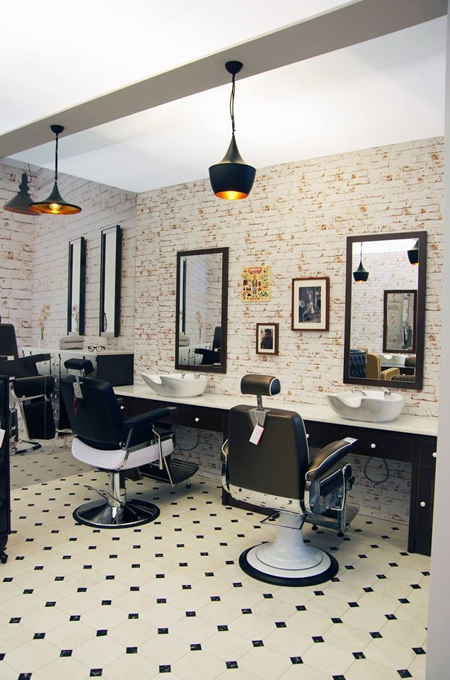 Barber shop by Ayala salon furniture. Barber chairs Stig and bespoke units. #barbershop #barberchair #mansalon