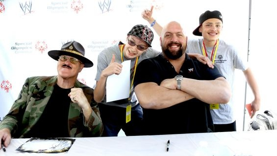 #WWE Hall of Famer Sgt. Slaughter and Big Show meet members of the WWE Universe at the 2013 Special Olympics Connecticut Summer Games.