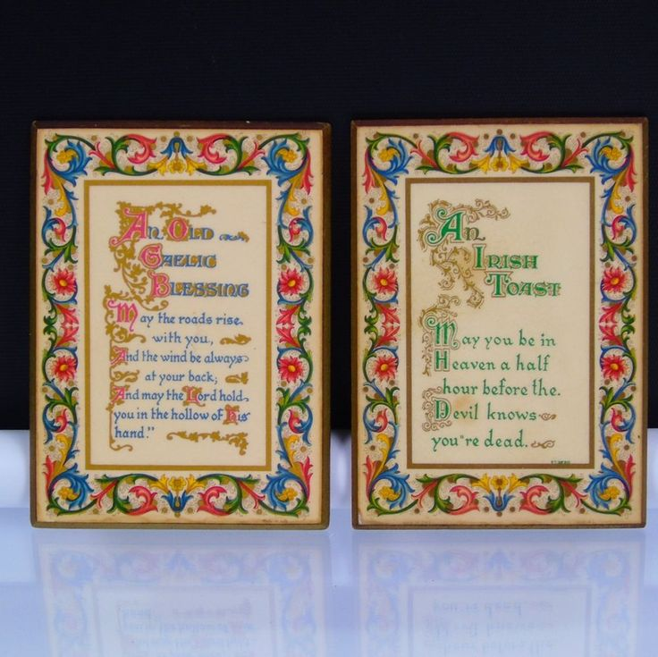 2 Celtic Design Plaques An Irish Toast and An Old Gaelic Blessing Vintage Decor  | Collectibles, Cultures & Ethnicities, Celtic | eBay!