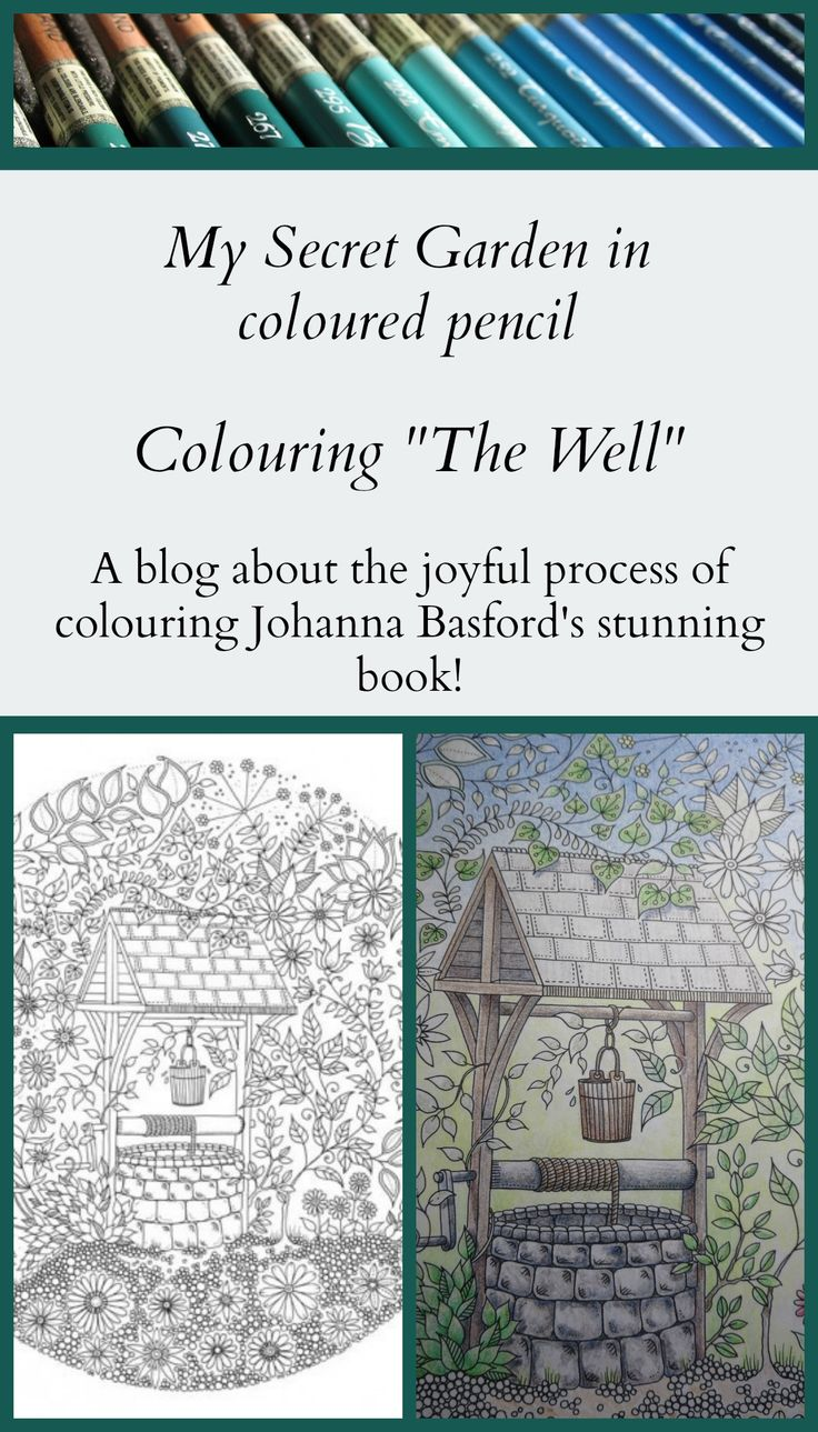 Colouring The Well in Johanna Basford's beautiful colouring book My Secret Garden. #MySecretGarden#coloring#colouring