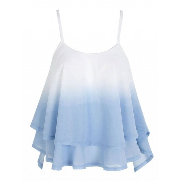 Choies Light Blue Cross Back Layered Ruffle Faded Cami Top ($13) ❤ liked on Polyvore featuring tops, blue, blue cami, light blue tank, cami tank, flounce tops and light blue camisole