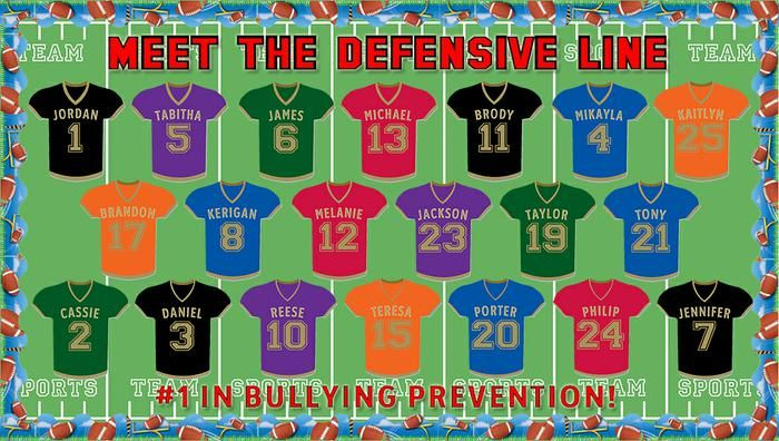 Meet the Defensive Line! - Football Themed Anti-Bullying Display