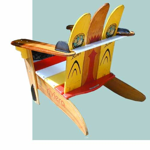 Waterski Chairs Catalog- order custom unique outdoor furniture made from rescued waterskis, Dick Phillips, Lake Worth, Florida, Made in the USA