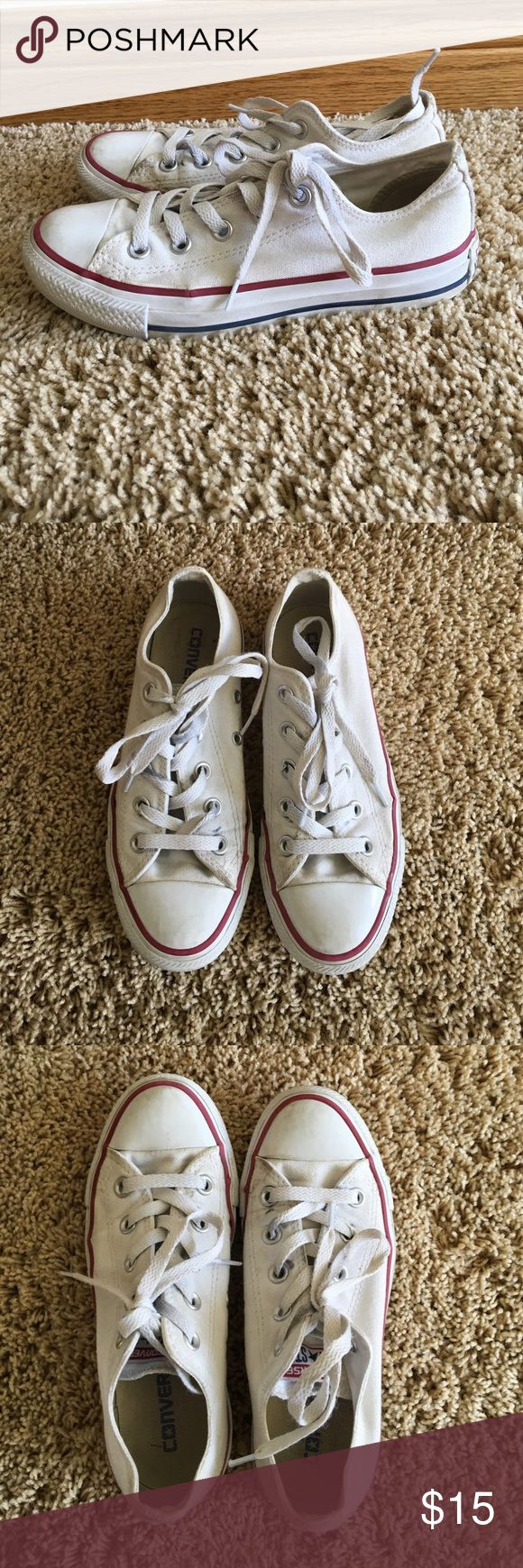 White low top converse Have been worn multiple times. A little dirty but still could be worn plenty more! I'm sure the dirt would come out when washed. On the shoe tongue it says US size 5, but on the bottom of the show it says 3 Converse Shoes Sneakers