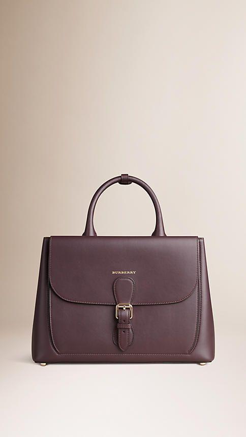 Dark amethyst The Medium Saddle Bag in Smooth Bonded Leather - Image 1