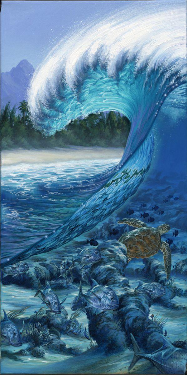 Phil Roberts Paintings | ... reef, surf art painting, wave ...