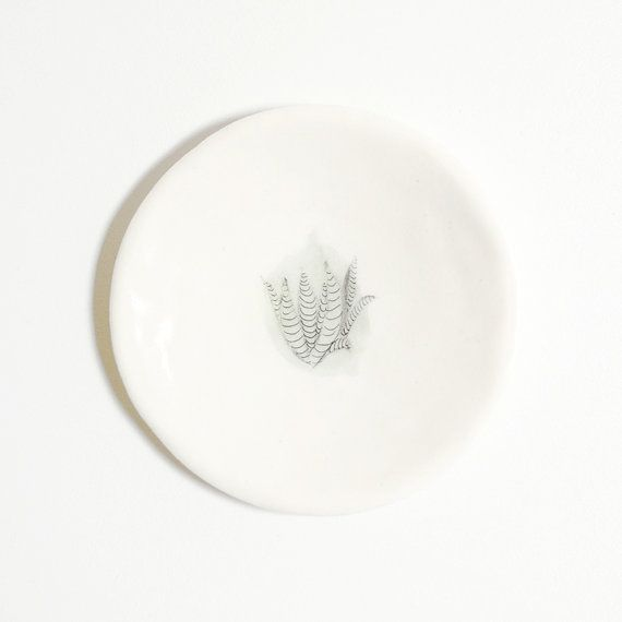 Porcelain ring dish with green botanical plant illustration by Mouseblossom on Etsy.