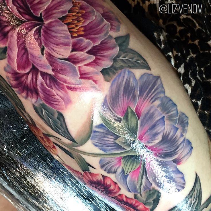 Amazing vintage botanical style peony flower tattoos by Liz Venom.   These beautiful antique styled peonies are super feminine.   Ink, inked, flowers, superb, crazy, floral, sexy, realistic, cute, tattooed, tattoo, incredible, Melbourne, Brisbane, Australia, Edmonton, Canada, Alberta, Honolulu, magazine, 3D, realism.