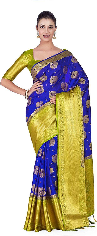 42da02a8479212 Mimosa Art silk Wedding saree Kanjivarm Pattu style With Contrast Blouse  Color: Blue (4306-352-2D-RBLU-OLV): Amazon.in: Clothing & Accessories