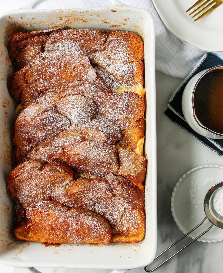 Churro French Toast Casserole with Mexican Chocolate Drizzle