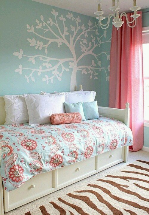 white tree stenciled on light blue wall in a pink, white, and blue bedroom... so pretty!!