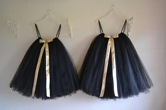 black tutu calf length tutu girls tutu flower girl tutu