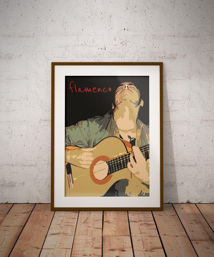 Flamenco guitar - minimalist poster - Poster minimalista, music poster, guitar poster, vintage, spain de ManuelGuajiroDesigns en Etsy