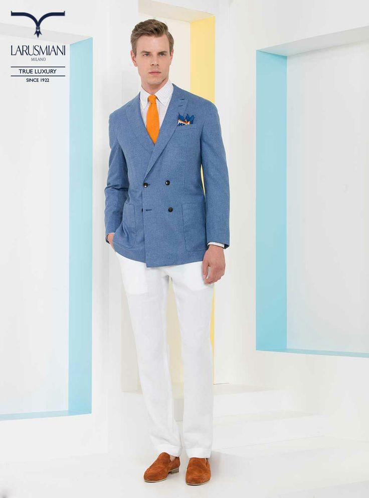 Handmade silk/cashmere double-breasted jacket - Botton-down cotton shirt - Handmade seven-fold silk tie   - Silk micropattern pocket handkerchief - Cotton bi-color trousers - Handmade suede mocassins #SS2014 #fashion #style #menswear #luxury #larusmiani www.larusmiani.it