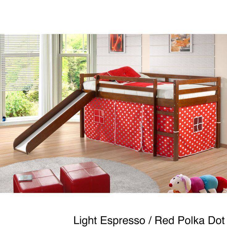 Donco Kids Twin Size Tent Loft Bed With Slide (Light Espresso/Red Polka