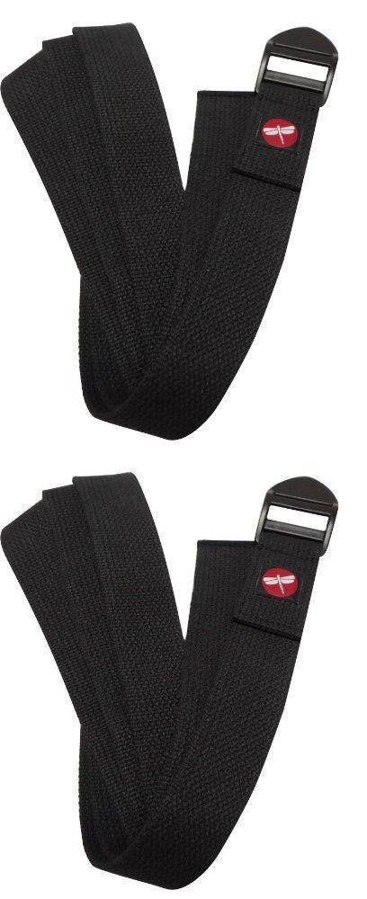 DragonFly Yoga Cinch Buckle Cotton Yoga Strap, Black, 8-Inch