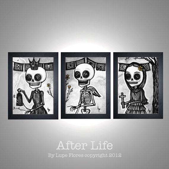 After Life Print Set Day Of The Dead Sugar Skull 5x7 Deal 15 99 Via