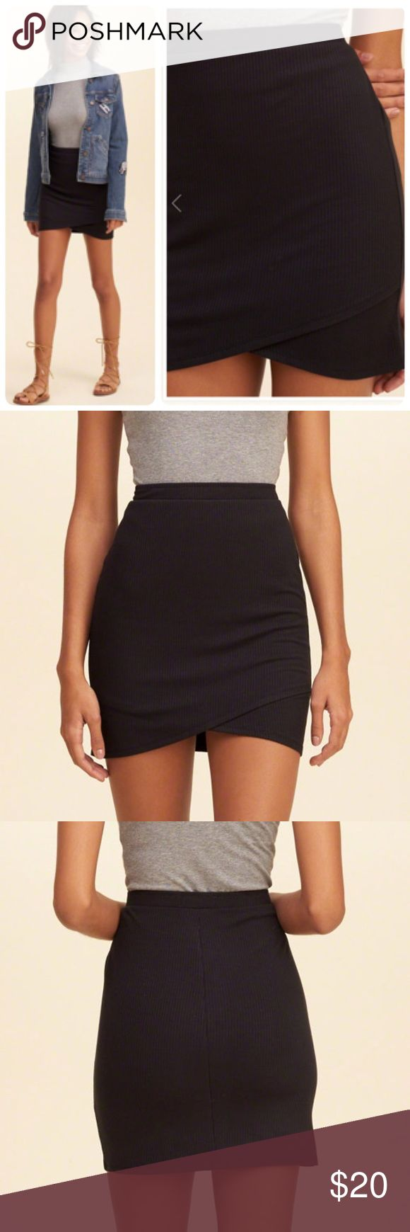 NEW HOLLISTER  WRAP FRONT BODYCON SKIRT SIZE L -BRAND NEW WITH TAG -SIZE: LARGE -COLOR: BLACK -98% VISCOSE; 2%ELASTANE -DO NOT DRY CLEAN -;AY FLAT TO DRY -LOW IRON IF NEEDED -MACHINE WASH COLD WITH LIKE COLORS -ONLY NON-CHLORINE BLEACH -MADE IN GUATEMALA  -MODEL IS 5'8           ⚠️⚠️⚠️CLOTHING MIGHT BE WRINKLE DURING PACKAGING⚠️⚠️⚠️       ⭐RATED SELLER  👍FAST SHIPPER NEXT DAY SHIPPING  ❌NO TRADE ❌NO PAYPAL ✅BUNDLE OFFER Hollister Skirts Mini