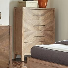Scott Living White Washed Natural Mahogany 4-Drawer Accent Chest 204615