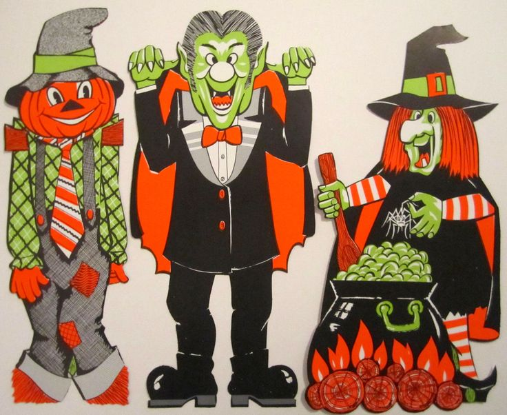 set of 3 vintage eureka 18 halloween decoration from the 1970s