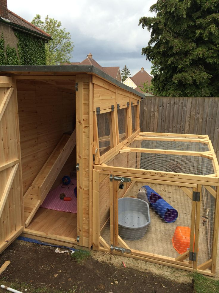Large guinea pig shed with a large rabbit run made in the UK by joiners from Boyle's Pet Housing
