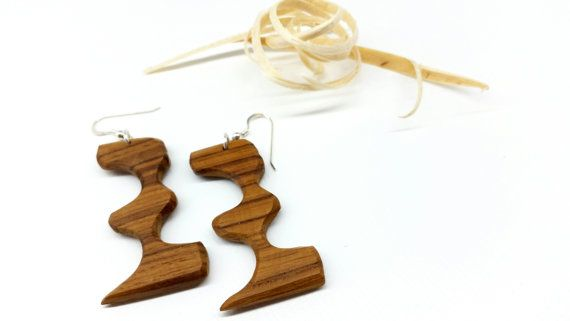 Ooak Wood Earrings Natural Earrings Wood by TheWoodArtShop on Etsy